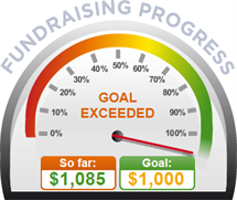 Fundraising Amount=$1,085.00 ; Goal=$1,000.00