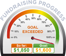Fundraising Amount=$1,850.00 ; Goal=$1,600.00