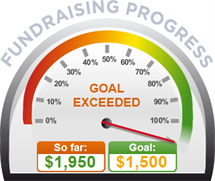 Fundraising Amount=$1,950.00 ; Goal=$1,500.00