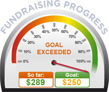 Fundraising Amount=$289.00 ; Goal=$250.00