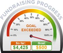 Fundraising Amount=$4,425.00 ; Goal=$500.00