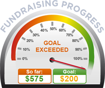 Fundraising Amount=$575.00 ; Goal=$200.00