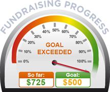 Fundraising Amount=$725.00 ; Goal=$500.00